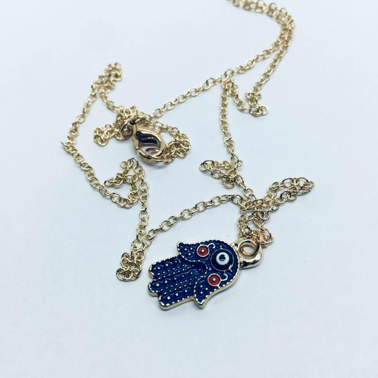 Small Hamsa Hand Necklace gold tone