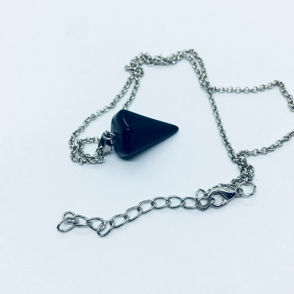 Pendulum Necklace-Black Agate