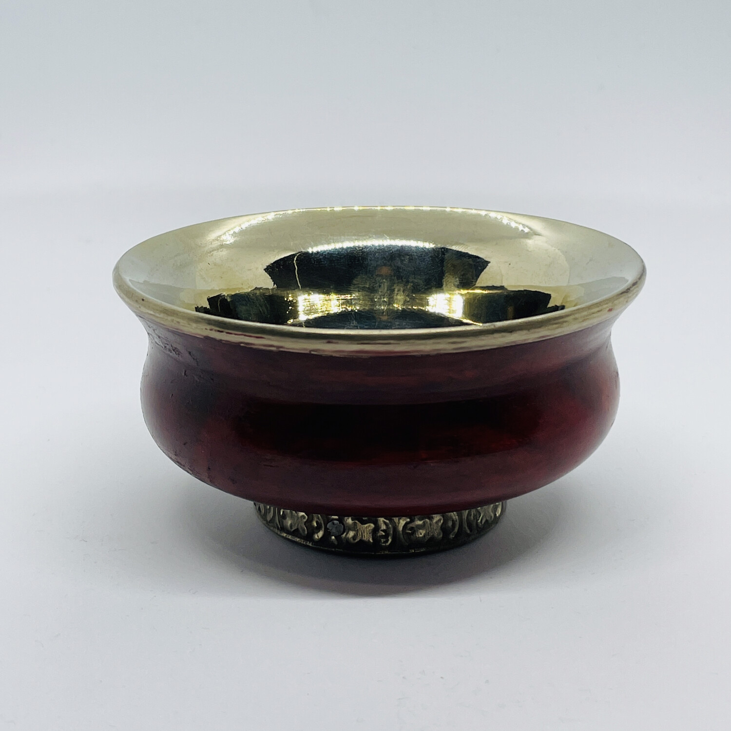 Tibetan Offering Bowl-Red and Silver