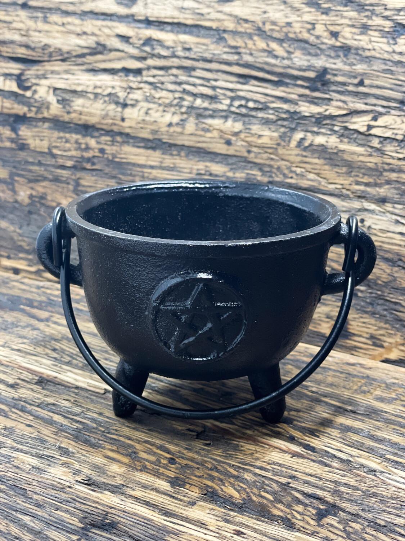 """Cast Iron Cauldron 4.5"""" Pentacle"""