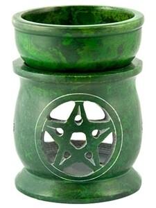 Pentacle Carved Oil & Resin Burner Green