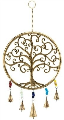 """Tree of Life Chime With Bells & Beads - 10""""W, 20""""H"""
