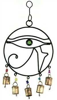 "Eye Of Horus Windchime With Beads & Bells - 7.5""W, 14""H"