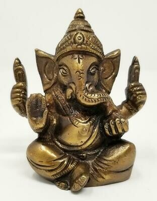 "Lord Ganesh Statue 3""H Honey Gold Finish"