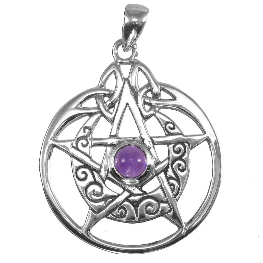 Sterling Silver Crescent Moon Pentacle Circle Pendant with Amethyst