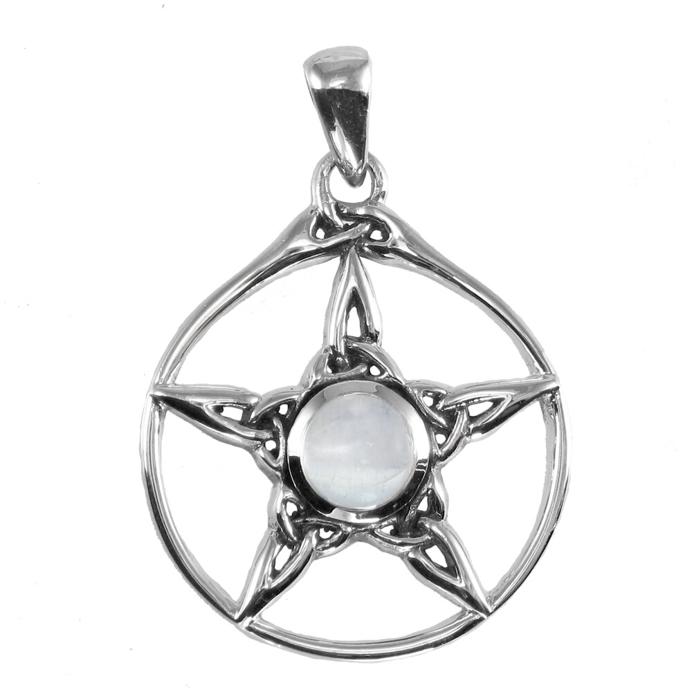 Sterling Silver Triquetra Pentacle Pendant with Rainbow Moonstone