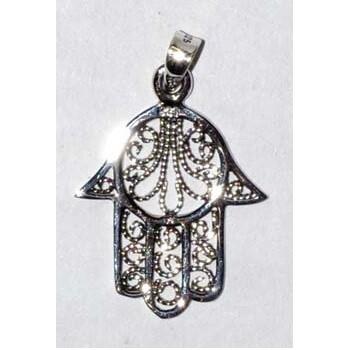 "Hamsa filigree sterling silver 7/8"" pendant"