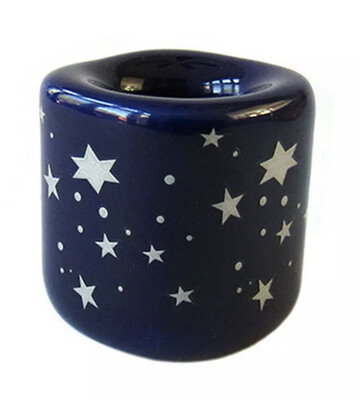 Chime Candle Holder- Blue with Silver Stars