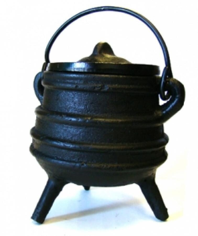 """Ribbed Cauldron with lid 3"""""""