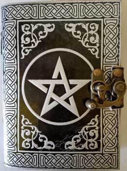 Black & Silver Pentagram Leather journal w/latch