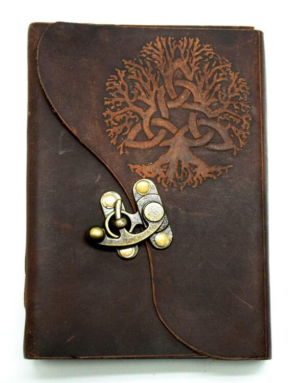 "Tree of Life soft leather journal 5x7"" w/latch"