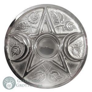 "Pentagram Moon Silver plated brass Altar Tile 9"""