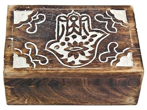 "Hamsa Hand Carved Wooden Box 7'x5"""