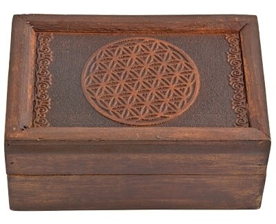 """Flower of Life Carved Wooden Box 6""""x4"""""""