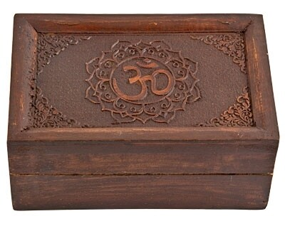 """Om Hand Carved Wooden Box 6""""x4"""""""