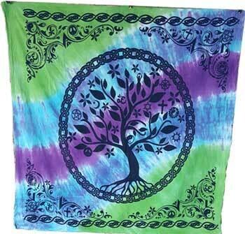 "Tree of Life altar tie dye cloth 36x36"""