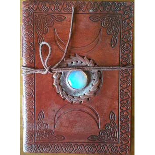 """Triple Moon with stone leather journal 5x7"""""""