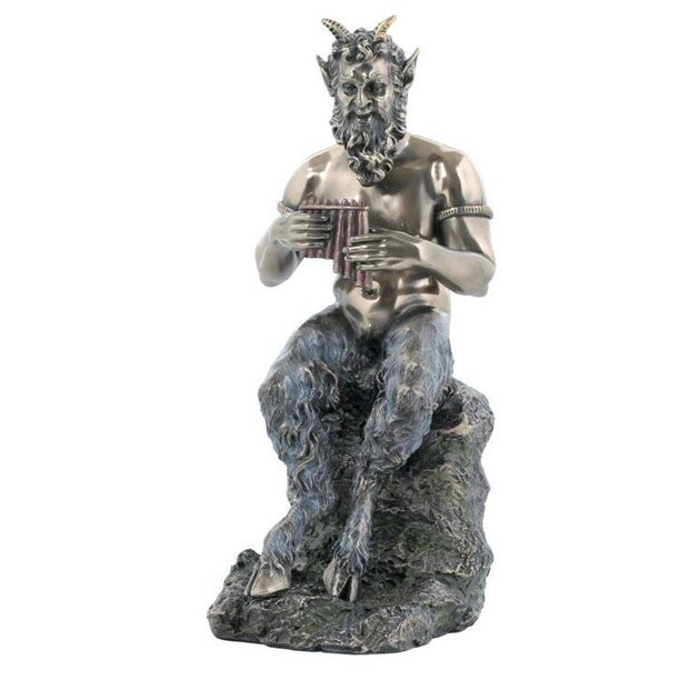 Pan Sitting on the Rock Playing Flute