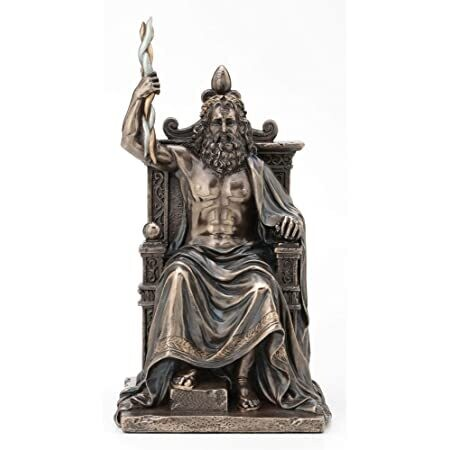 Zeus Holding Thunderbolt Sitting on Throne