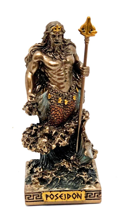 "Poseidon bronzed figure 3.5"""