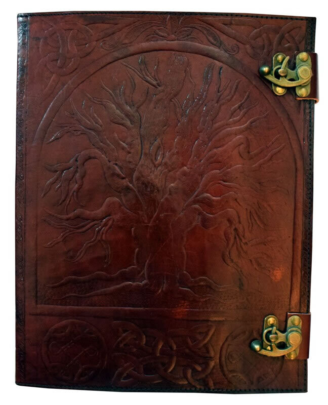 """Tree of Life Embossed Leather Journal 10 x 13"""""""