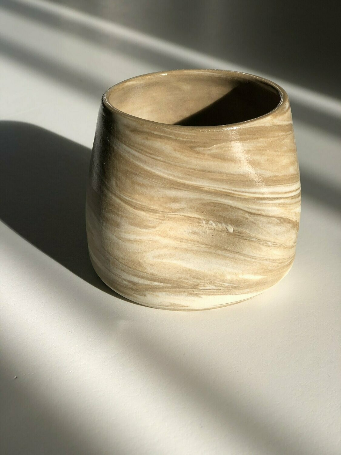 Dimple Cup - Taupe Marble