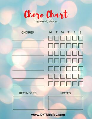 Child Chore Chart- colorful