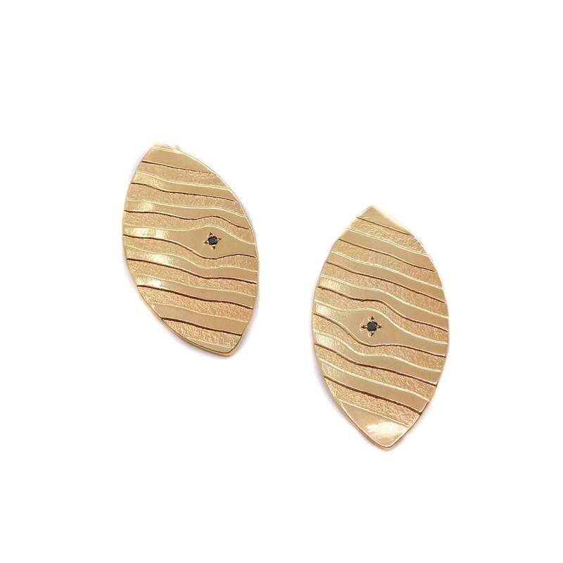 Boucles d'oreilles Soho - Bronze plaqué or 18ct 5 microns et diamants noirs