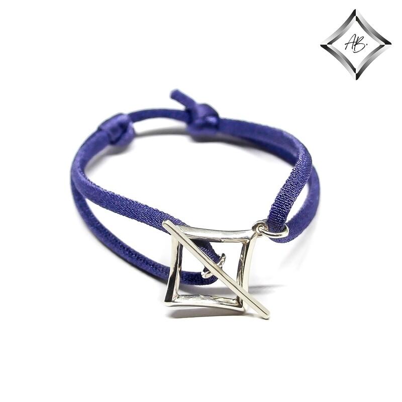 """Bracelet """"Mayfair"""" - Argent 925 et cordon élastique bleu royal ou vert forêt"""