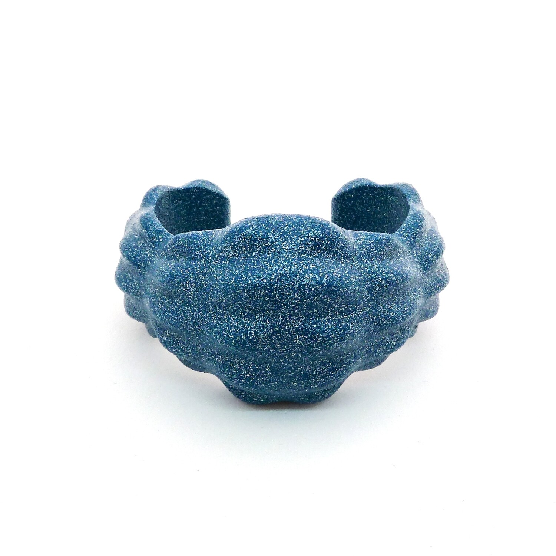 """Manchette """"Tamise"""" - imprimée en 3D en alumide bleu pétrole"""