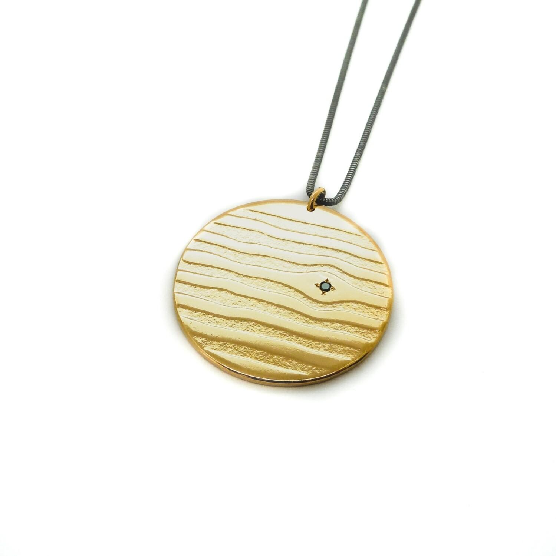 Pendentif Soho - Bronze plaqué or 18ct 5 microns et diamant noir