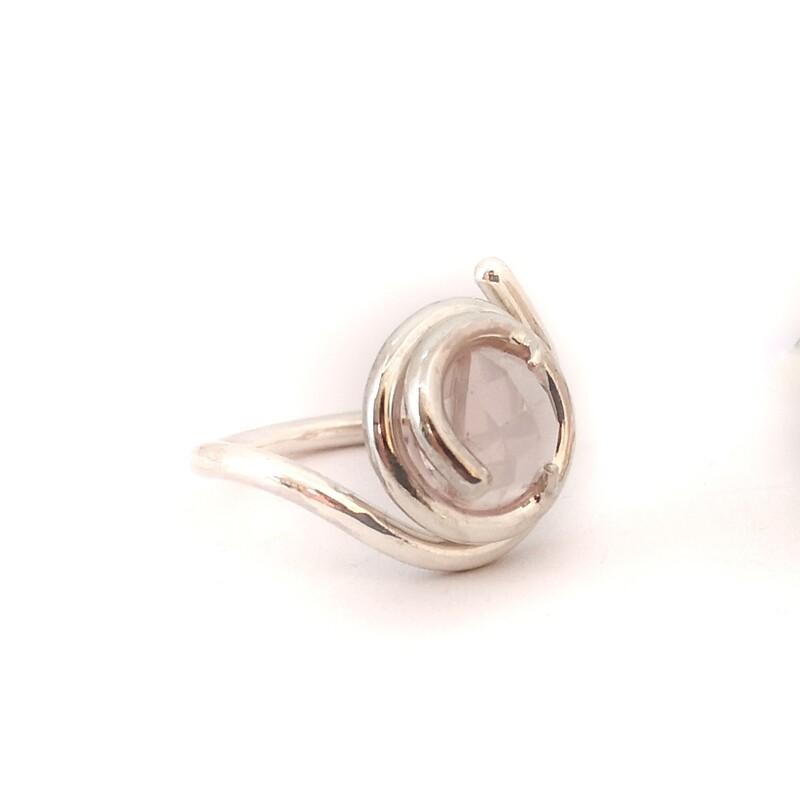 Bague Mini Bloomsbury - Argent et quartz rose / pierre de lune