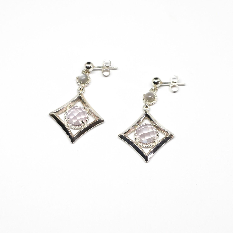 """Boucles d'oreilles """"Mayfair"""" - Argent 925, quartz rose et pierres de lune"""