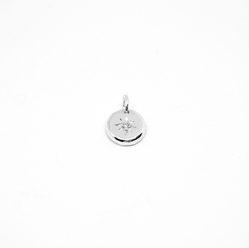 Pendentif North star - Argent recyclé et diamant