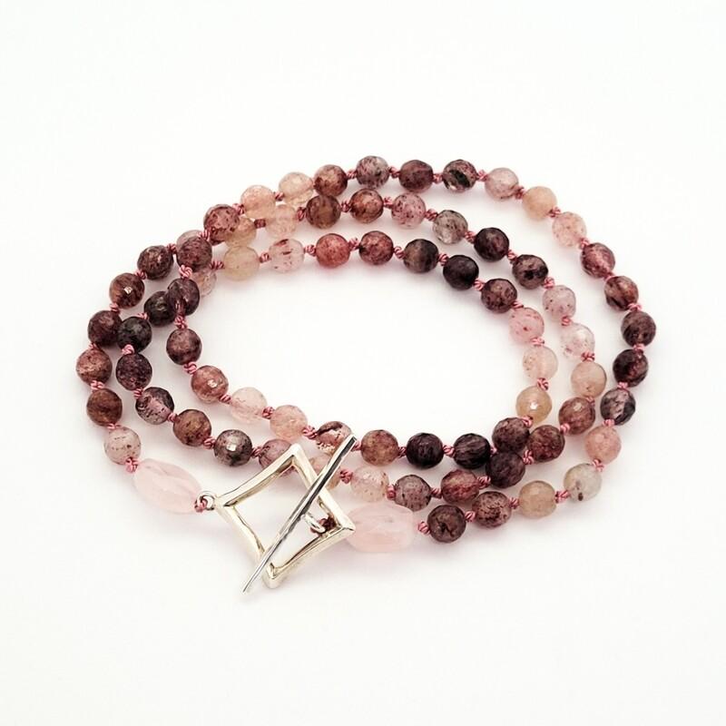 """Collier de perles """"Mayfair"""" - Argent 925 et quartz strawberry"""