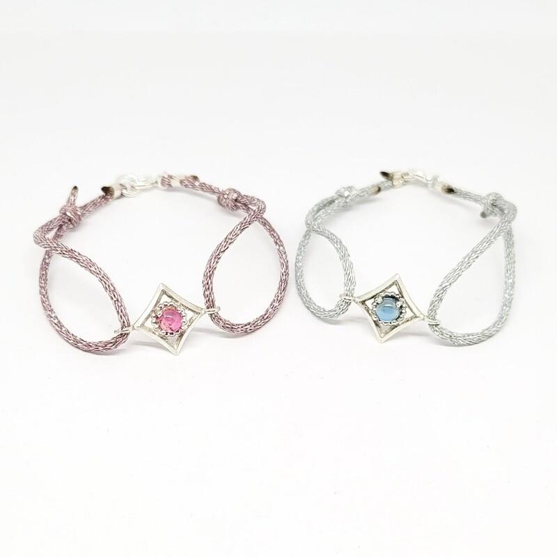 Bracelet Mini Mayfair - Argent 925 et topaze bleue (blue london) ou tourmaline rose