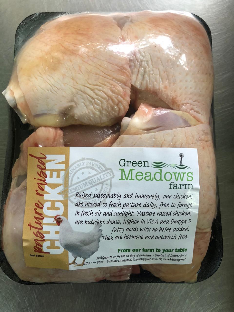 Free Range Chicken Thighs (R85 per kg) 4 per pack average packs is 500g