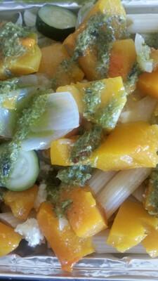 Roast Butternut, Baby Marrow & Onion Penne with Basil Pesto (Vegetarian) (to Order)