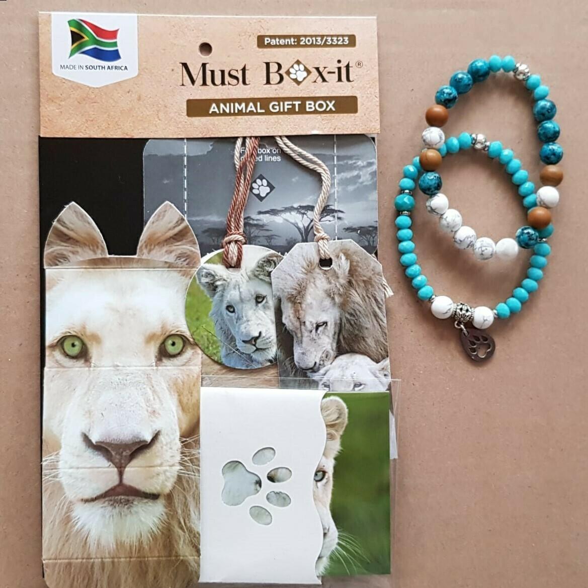 White Lion Beaded Bracelet Set