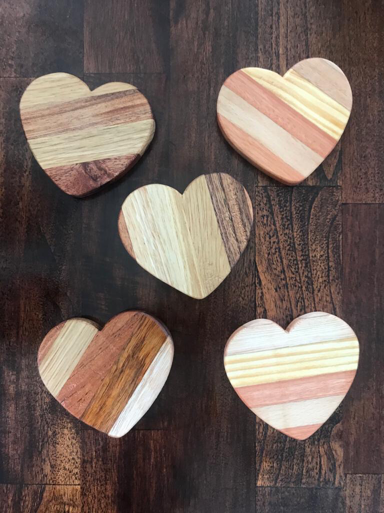 Wooden Heart Coasters (5)