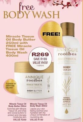 Miracle Tissue Oil Body Butter 250ml (with FREE MTO Body Wash)