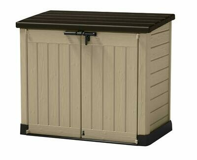 Keter Store-It Out Maxi Outdoor Plastic Garden Storage Shed, Beige and Brown, Installation included with Delivery