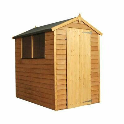 Wooden Garden Shed 6x4 Outdoor Storage Overlap, Dip Treated With Windows, Single Door, Apex Roof (6 x 4 / 6Ft x 4Ft), Installation included with Delivery