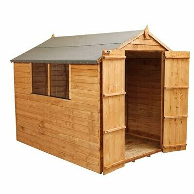 Wooden Garden Shed 10x6 Outdoor Storage, Overlap, Windows, Double Door, Apex Roof (10 x 6 / 10Ft x 6Ft), Installation included with Delivery