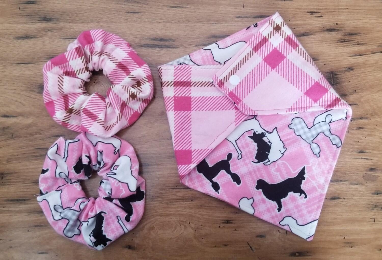 Pink Plaid Flannel Pet Bandana with Matching Scrunchie
