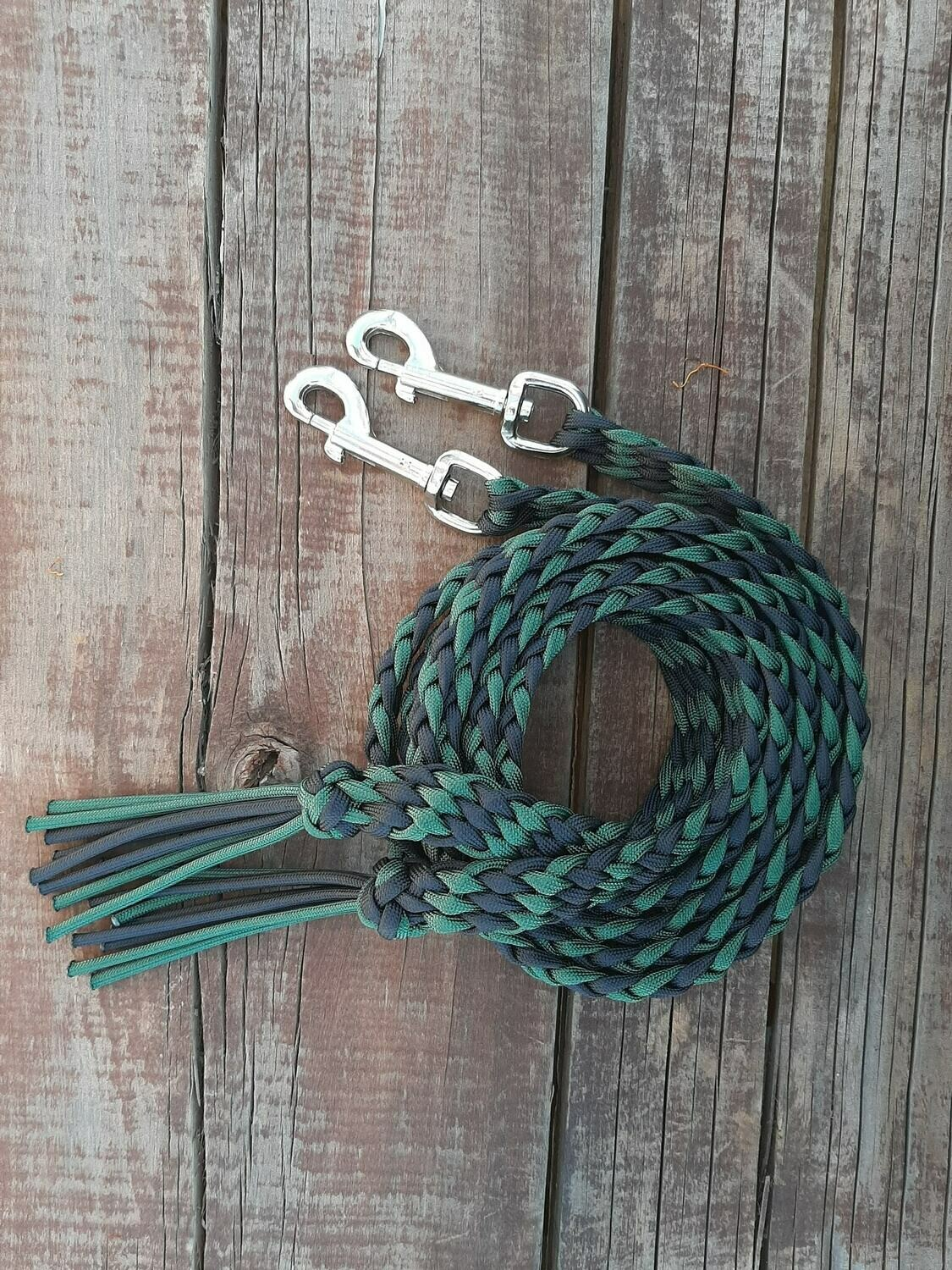 Black/Hunter Green Braided Reins