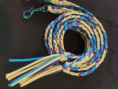 Purple, blue and biege split reins
