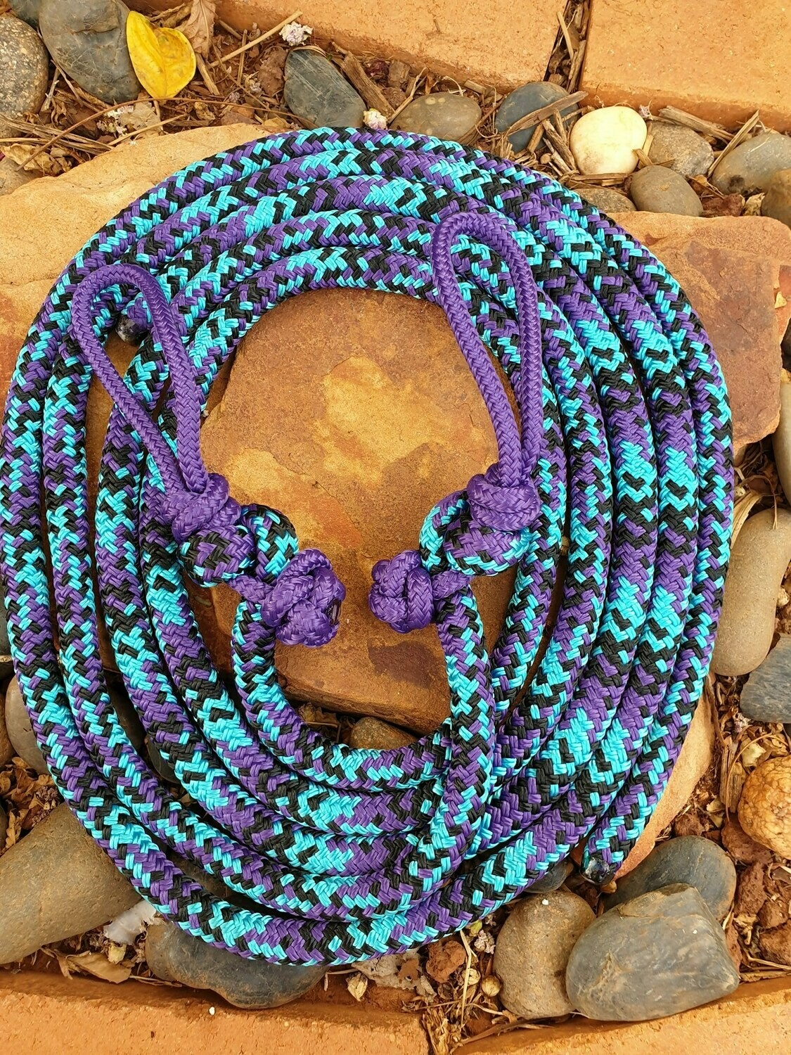 Purple, Aqua and Black Rope Reins