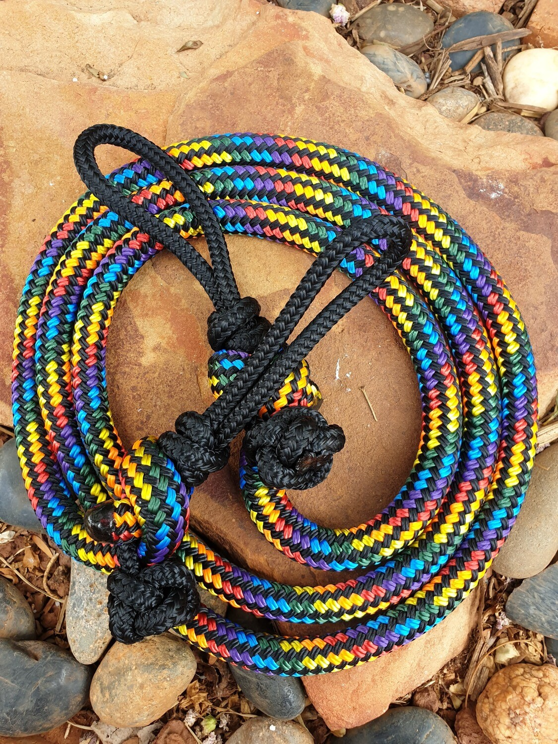 Black Rainbow Joined Rope Reins