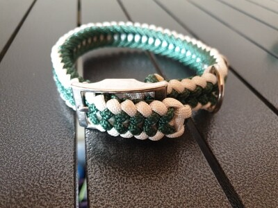 Hunter Green and White small collar
